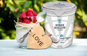 BHF Yogurt Heart  854989724 B 300x193 - Homemade yogurt with raspberries. Milk raspberry dessert. Wooden heart.